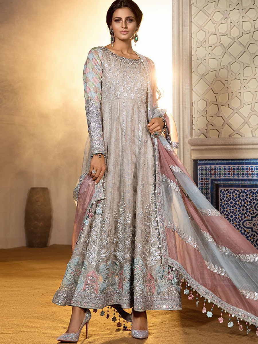 Maria B Unstitched Mbroidered Wedding Edition   Cappuccino Moonlight  BD 20